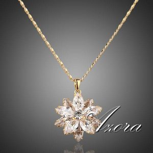 Sunflow Design 18K Real Gold Plated Gold Stellux Austrian Crystals Paved Pendant Necklace