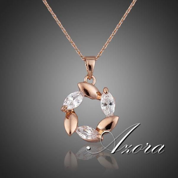 AZORA Rose Gold Plated Flower Clear Cubic Zirconia Pendant Necklace