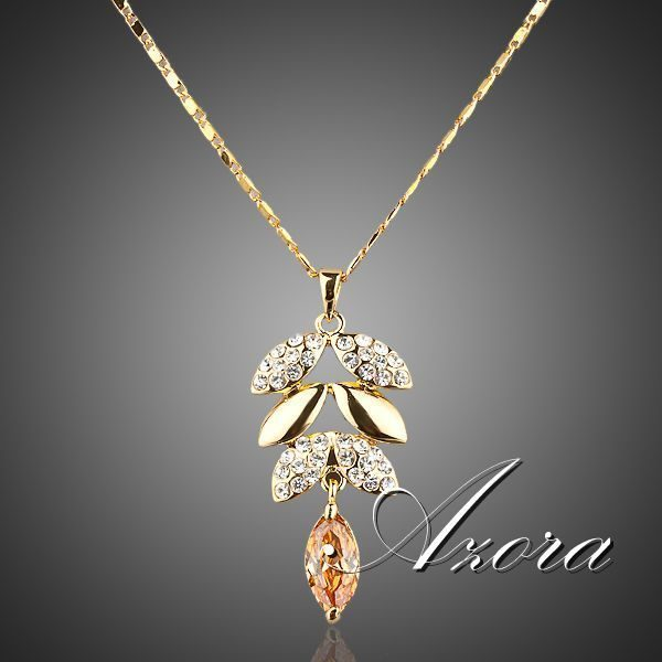Real Gold Plated Gold Color Austrian Crystals Leaves Design Pendant Necklace