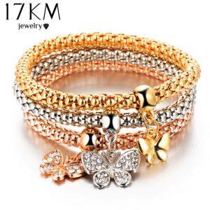 2016 hOT 3 PCS/Set Crystal Butterful Bracelet & Bangle Elastic Heart Bracelets For Women pulseira