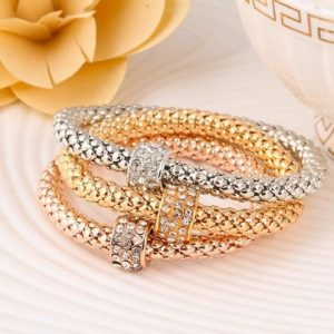 2016 hOT 3 PCS/Set Crystal Butterful Bracelet & Bangle Elastic Heart Bracelets For Women pulseira