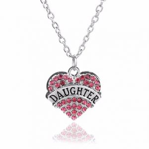 Daughter Necklace Crystal Heart Pendant Rhinestone
