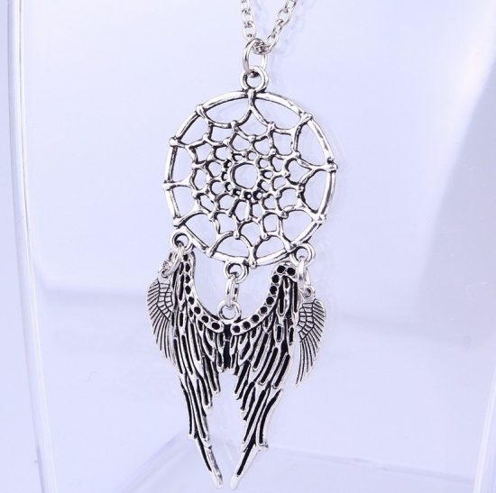 Trendy Bohemian Style Dreamcatcher Feather Wings Shaped Pendant Necklace 1 Styles