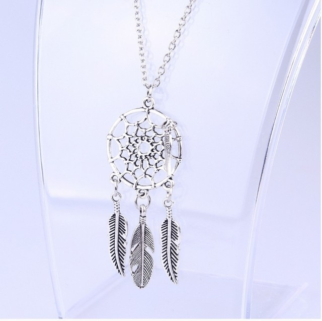 8add3ce42 Trendy Bohemian Style Dreamcatcher Feather Wings Shaped Pendant Necklace 2  Styles - ClicknOrder