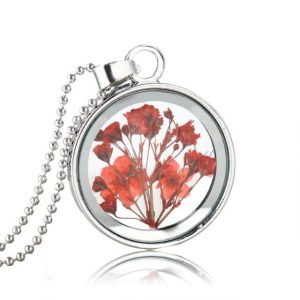 Dried Flowers Round Glass Statement Necklaces Silver Plated Chain Long Necklaces For Women