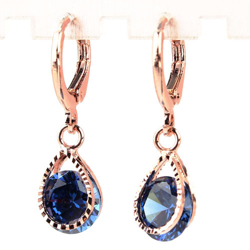 Drop Earrings 18k Gold Plated Waterdrop Party Earring Vintage Crystal Jewelry