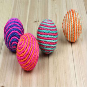Kitten Pet Teaser Sisal Rope Weave Ball Play Chewing Catch Toy Funning
