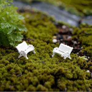 Micro world bonsai garden small ornament Landscape decoration The park sits chair seat doll