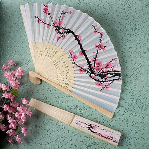 Elegant Plum Blossom Flower Print Folding Hand Fans Designer White Polyester Fans Summer