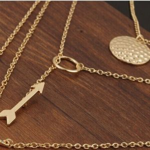Women Multilayer Irregular Crystal Gold Pendant Chain