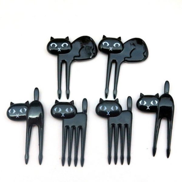 FHEAL 6pcs/set Black Cat Fruit fork Cute Cartoon Baby Fork Kitten Dessert Decoration Fork Kitchen Bar Supply