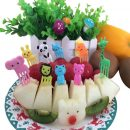 FHEAL 10pcs/set Animal Farm Mini Cartoon Fruit Fork Sign Plastic Fruit Toothpick Bento Lunch For Children Decorative