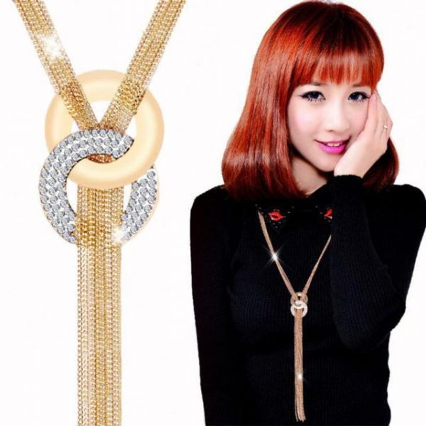 Fantastic Long Tassel Necklace Pendants Gold Silver Sweater Chain Necklace Multilayer Alloy Statement Necklace