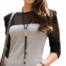 Fashion Crystal Fringed Long Sweater Chain Geometry Necklace Chain
