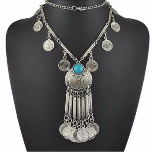 Fashion Vintage Boho Antique Coin Necklace for Women Statement Long Tassel Necklaces