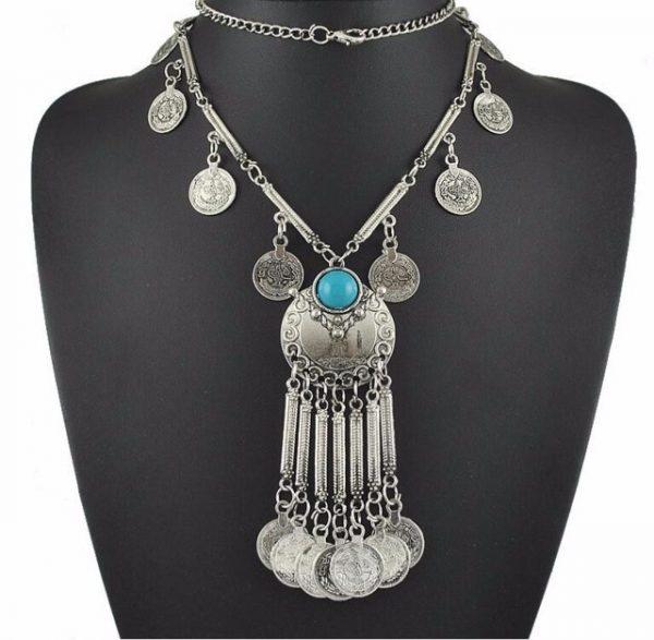 Fashion Vintage Boho Antique Coin Necklace for Women Statement Long Tassel Necklaces