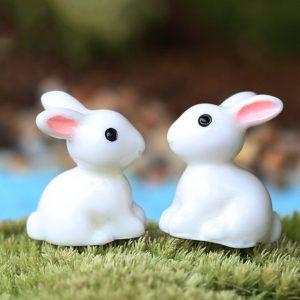 Mini Rabbit Ornament Miniature Figurine Plant Pot Garden Decor Toys Home Crafts Classic