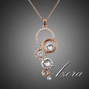 Rose Gold Plated Pure Clear Simply Small Round 1 carat Cubic Zirconia Pendant Necklace