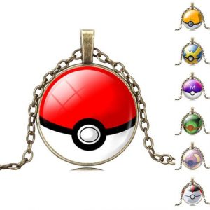 Vintage Bronze Chain Statement Necklaces Collares Glass Cabochon Pokemon Ball Pendant