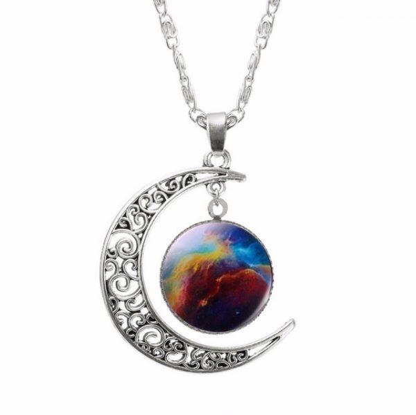 Glass Galaxy Lovely Pendant Silver Chain Moon Necklace