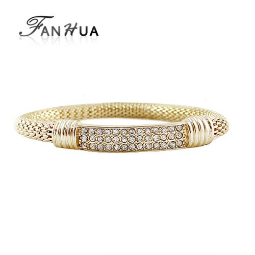 Gold Color Pulseras Rock Weaving Rhinestone Elastic bracelets