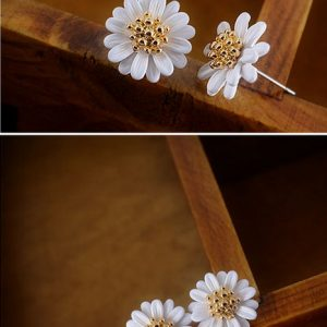 Gold Plated Bohemia Style Vintage Daisy Flower Summer Jewelry Earrings