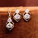 18k Yellow Gold Plated CZ Diamond Wedding Jewelry Sets Necklace Earrings
