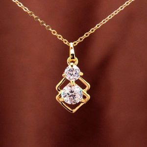 18k Yellow Gold Plated CZ Diamo Wedding Jewelry Sets Necklace Earrings