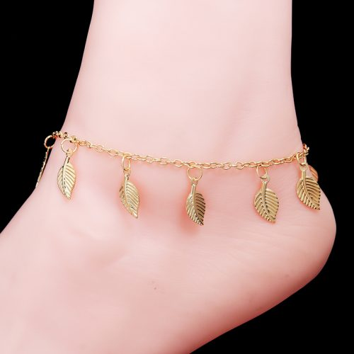 Gold Plated Foot Bracelets Hot Sale 2016 Leaf Pendant Ankle Beach Jewelry