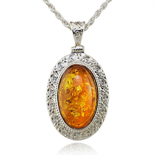 Oval Baltic Created Honey Carved Exquisite Pendant