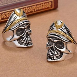 World War Military cap Band Ring Skull