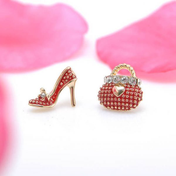 Korean Very Cute Bags Heels Shoe Asymmetric Earrings For Women 18K Gold Plated