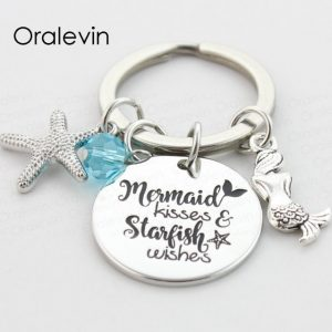 MERMAID KISSES AND STARFISH WISHES Engraved Pendant Keychain