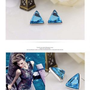 Fashion Austrian Crystal Silver Triangle Stud Earrings