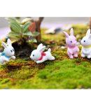 4 Pieces White Pink Rabbit Miniatures
