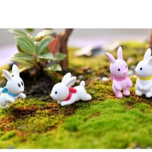 4 Pieces White Pink Rabbit Miniatures