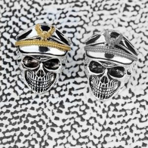 World War Military cap Band Ring Skull