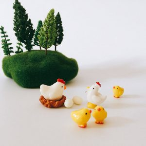 8 Pcs cock hen chicks miniatures decor