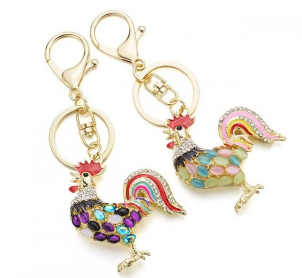 Pretty Chic Opals Cock Rooster Chicken Keychain