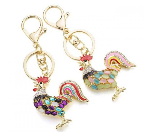 Pretty Chic Opals Cock Rooster Chicken Keychain