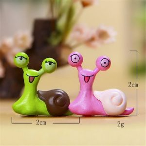 2PCs/set cute cartoon snail Miniature Snail Figurine Decor Fairy Garden