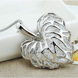luxury Heart Pendant Chain Silver Plated