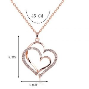 Rose gold color Crystal Double Heart Pendant