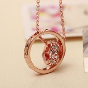 Heart Circle Pendants Heart Crystal Necklace