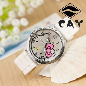 Hello Kitty Design Kitty Cat Silicone Band Crystal Wristwatches Watch for Children Kids Boys Girls