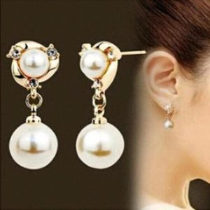 High-Quality imitation diamond imitation pearl jewelry long earrings