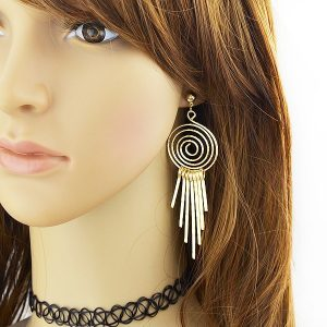 Hiphop Rock Style Gold Color Tassel Geometric Drop Earing Brincos Ouro Jewelry