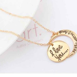 I Love U With Sun & Moon Pendant Necklace 18K Gold Plated Romantic Style