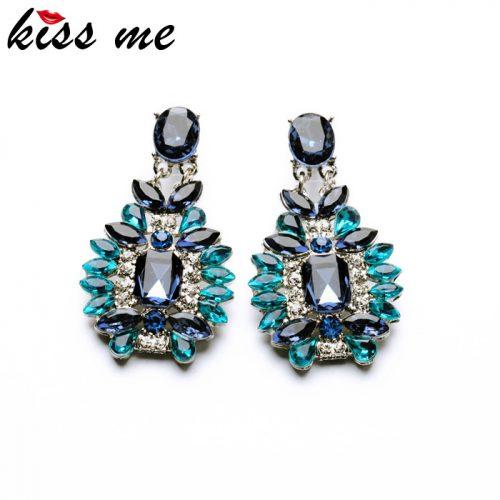 KISS ME Statement Trendy Jewelry Elegant Shiny Resin Stone Blue Plant Stud Earrings