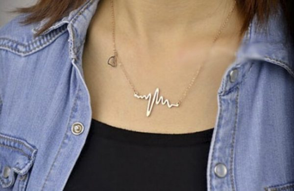 Imitation Titanium steel 18K Gold Plated ECG Heart Necklace Clavicle Choker Pendant Necklace